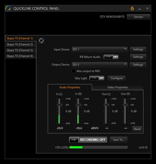 Skype TX Control Panel